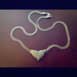 .925 sterling silver & diamond heart necklace